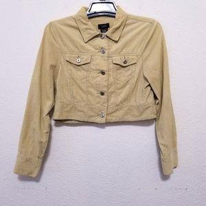 Womens Corduroy Cropped Jacket Beige Long Sleeve